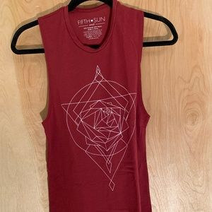 Red tank top with graphic design